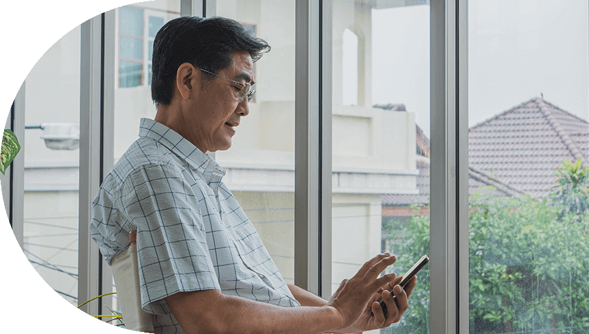asian man with tablet
